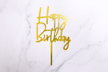 Load image into Gallery viewer, Gold Happy Birthday Cake Topper