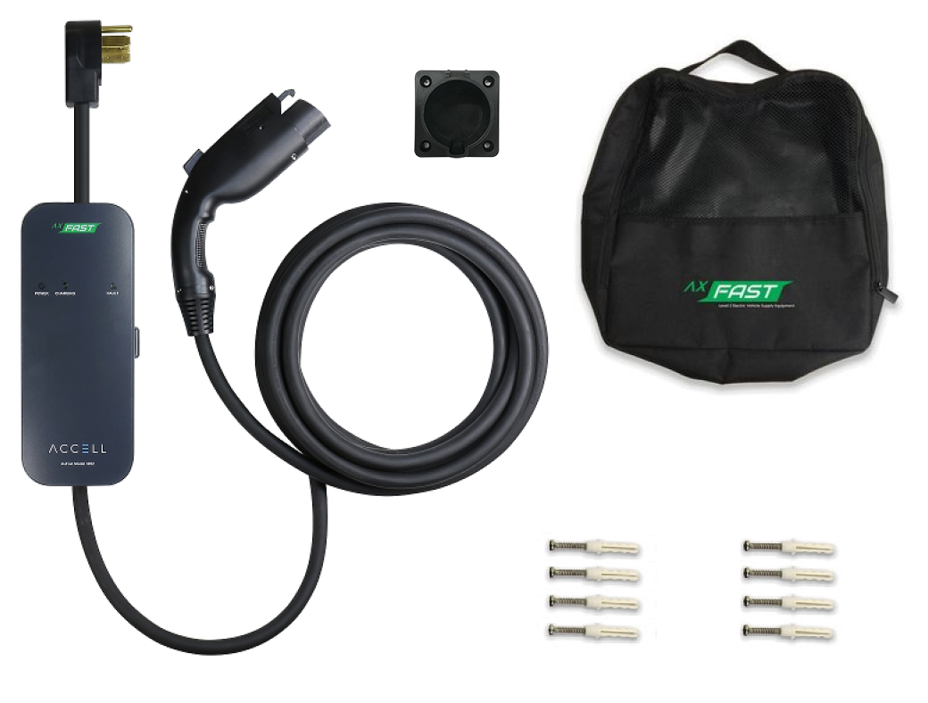 The package comes with 1 carry case, 1 user manual, 4 screws and drywall anchors, 1 SAE J1772 connector holster.
