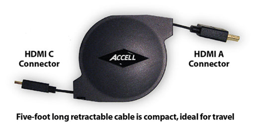 This product features compacted 5-foot retractable cable, which is ideal for traveling