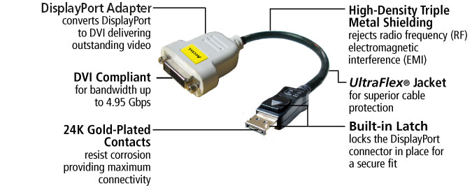 This adapter features ultraFlex jacket, high-density triple metal shielding, built-in latch, DVI compliant, and 24k gold-plated contacts