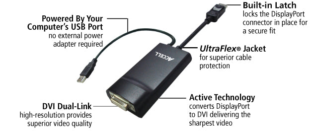 This adapter features ultraFlex jacket, computer-powered USB port, built-in latch, DVI dual-link and active technology
