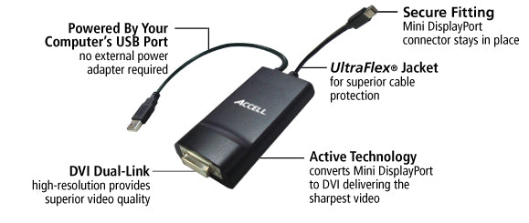 Ultraav 174 Mini Displayport To Dvi D Dual Link Adapter Accell