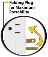 This product is equipped with folding plug for maximum portability
