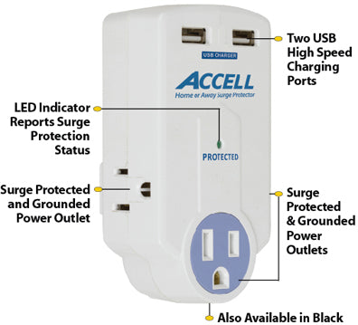 This product features LED status indicator, 3 surge-protected and grounded outlets, and 2 USB high-speed charging ports