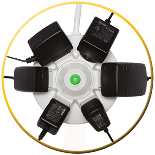 The power surge allowed 2 USB 2.4A and 6 adapters regardless of their sizes to be connected and charge at the same time.
