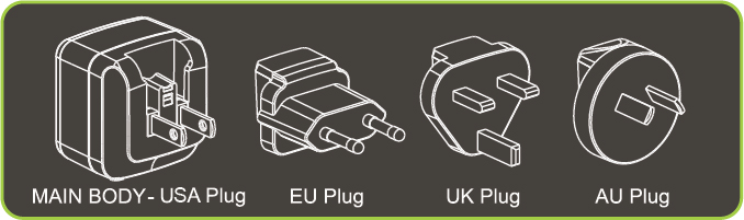 This adapter comes with replaceable plugs for US, EU, UK, and AU regions
