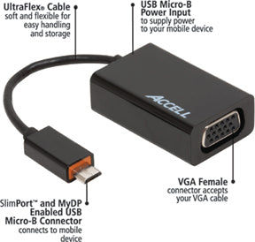 This adapter features UltraFlex cable, USB micro-b power input, SlimPort and MyDP enabled USB micro-B connector, and VGA female port