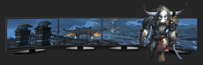 This multi-display MST hub enhance your gaming experience, simulating ultra-wide view angle in a RPG game over 4 displays