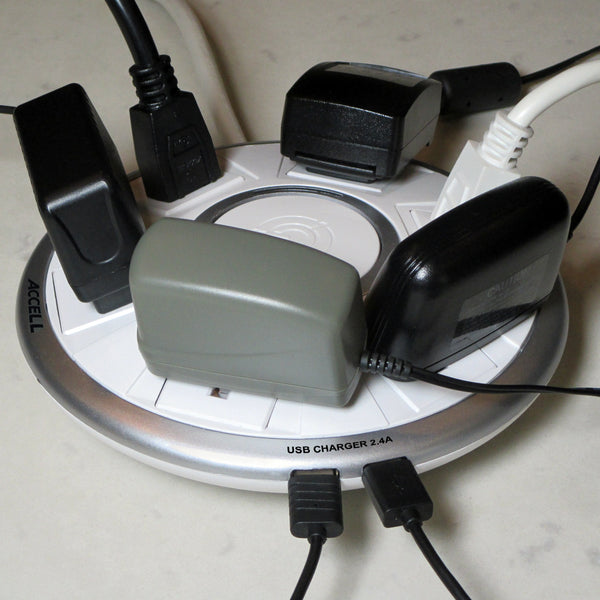 The power surge allowed 2 USB 2.4A and 6 adapters regardless of their sizes to be connected and charge at the same time