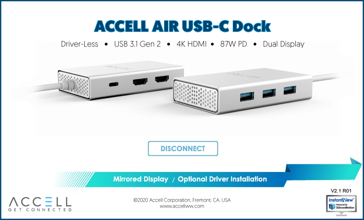 The Driver-Less Dock User Interface allows users to connect or disconnect from external displays, or install the optional drivers for extended view