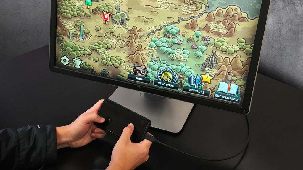 Accell USB-C to dispayport cable connects user's smartphone to a monitor to enable external screen gaming.
