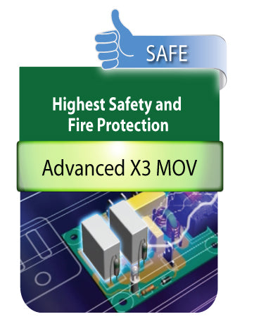 This power surge is certified to have the highest safety and fire protection