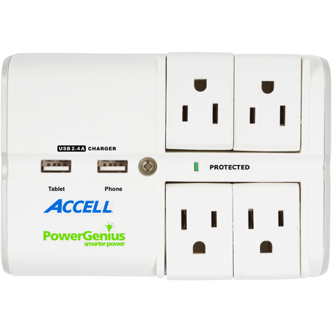 PowerGenius™ Rotating 4-Outlet Surge Protector with Dual USB Charging - Wall Tap