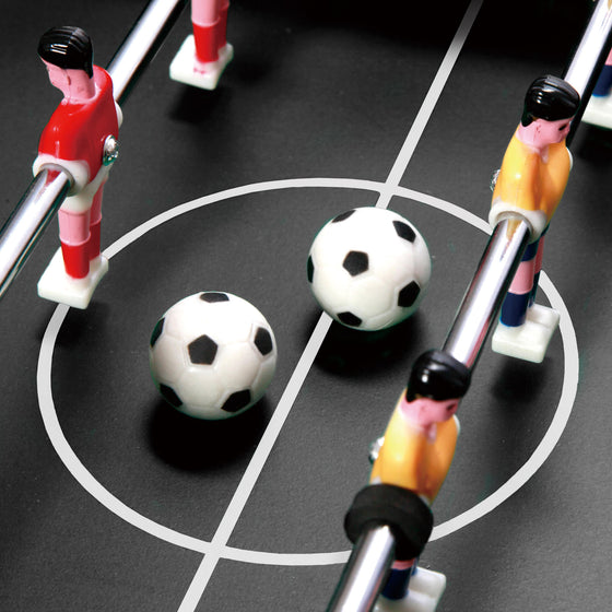 Close-up of 2 soccer balls that come with the E-Jet Games Table Top Foosball Game