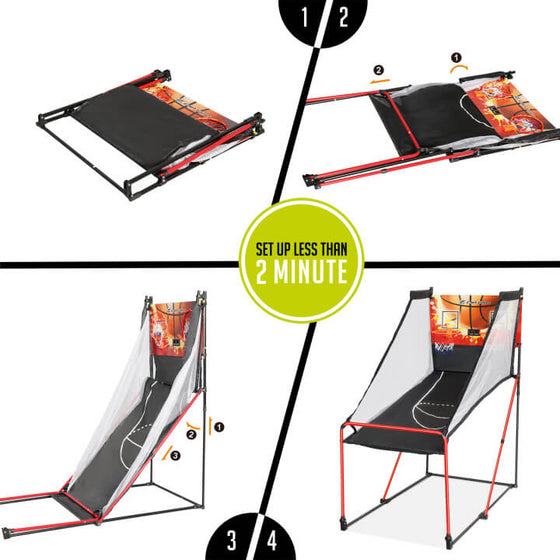 Set-up Infographic for the E-Jet Games Junior Arcade Basketball Indoor Hoop Set