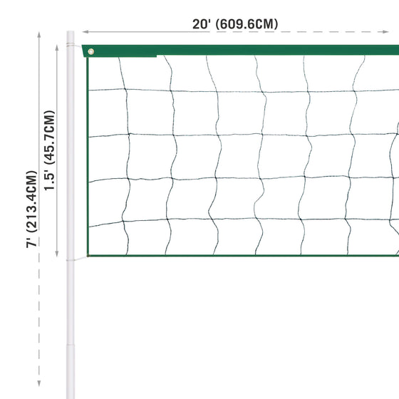 Volleyball Net Set dimensions