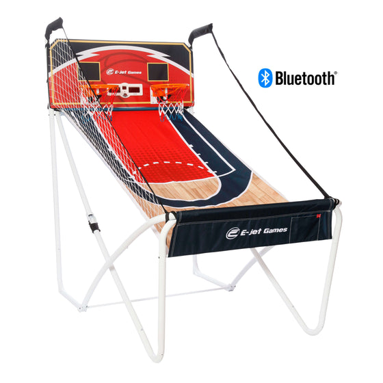 Angle view of the E-Jet Games Hoop Shot Bluetooth Arcade Basketball Game