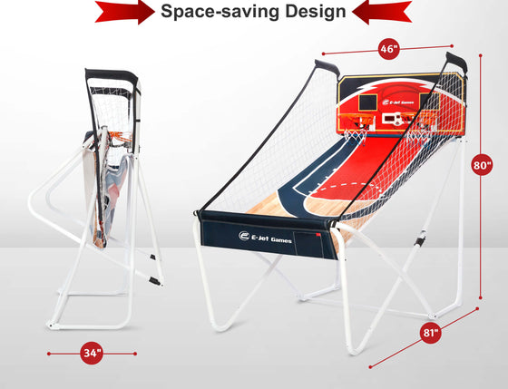 Dimensions infographic for the E-Jet Games Hoop Shot Bluetooth Arcade Basketball Game