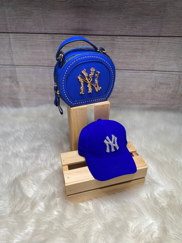 VELVET BLINGED NEW YORK CAP