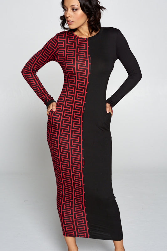 "The ""Geo-Maze"" Print Long Sleeve Dress"