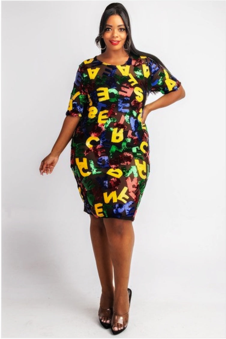 Alphabet Sequins T-Shirt Dress