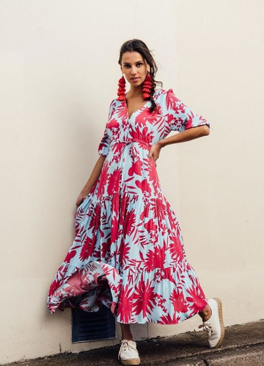 Catalina Blue Pink Tropical Maxi Dress