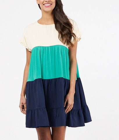 Ivy Navy Blue Colour Block Dress