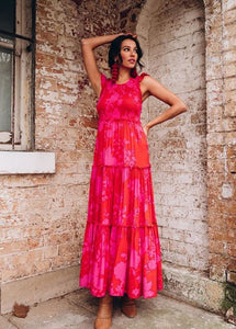 Lopez Red Pink Floral Maxi Dress