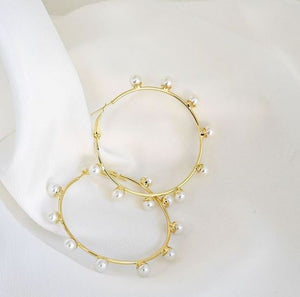 Poet Gold & Pearl Hoop Earrings