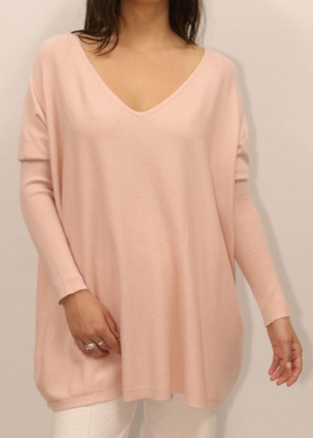 Charlotte V Neck Jumper in Blush
