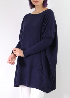 Charlotte Boat Neck Jumper in Navy Blue