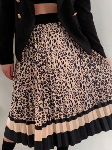 Lola Leopard Pleated Skirt
