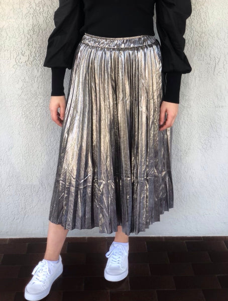 Athena Metallic Charcoal Silver Pleated Skirt