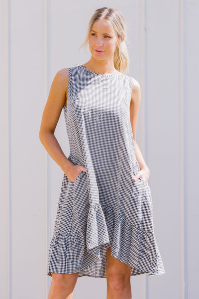 Chelsea Black White Check Short Dress