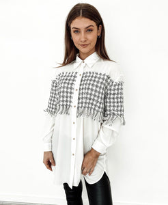 Coco Classic White Shirt with Houndstooth Panel