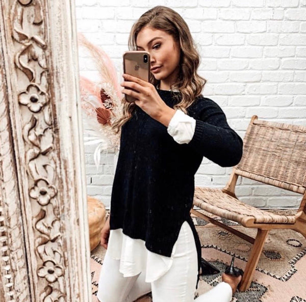 Olivia Knit with Shirt Trim