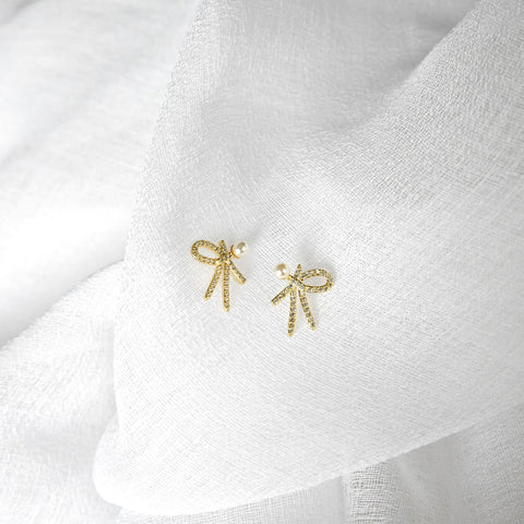 Natalia Bow Earrings - Gold/Pearl