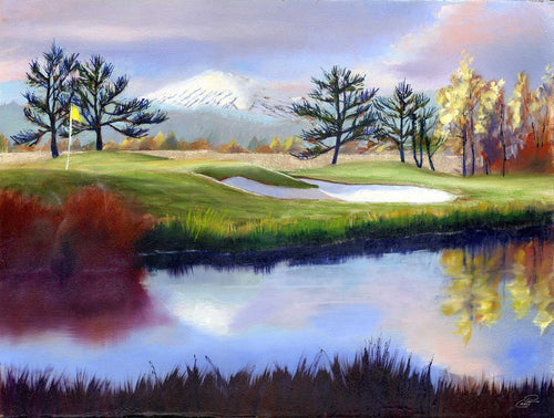 The 18th Hole 9x12 original oil painting by Pat Cross.