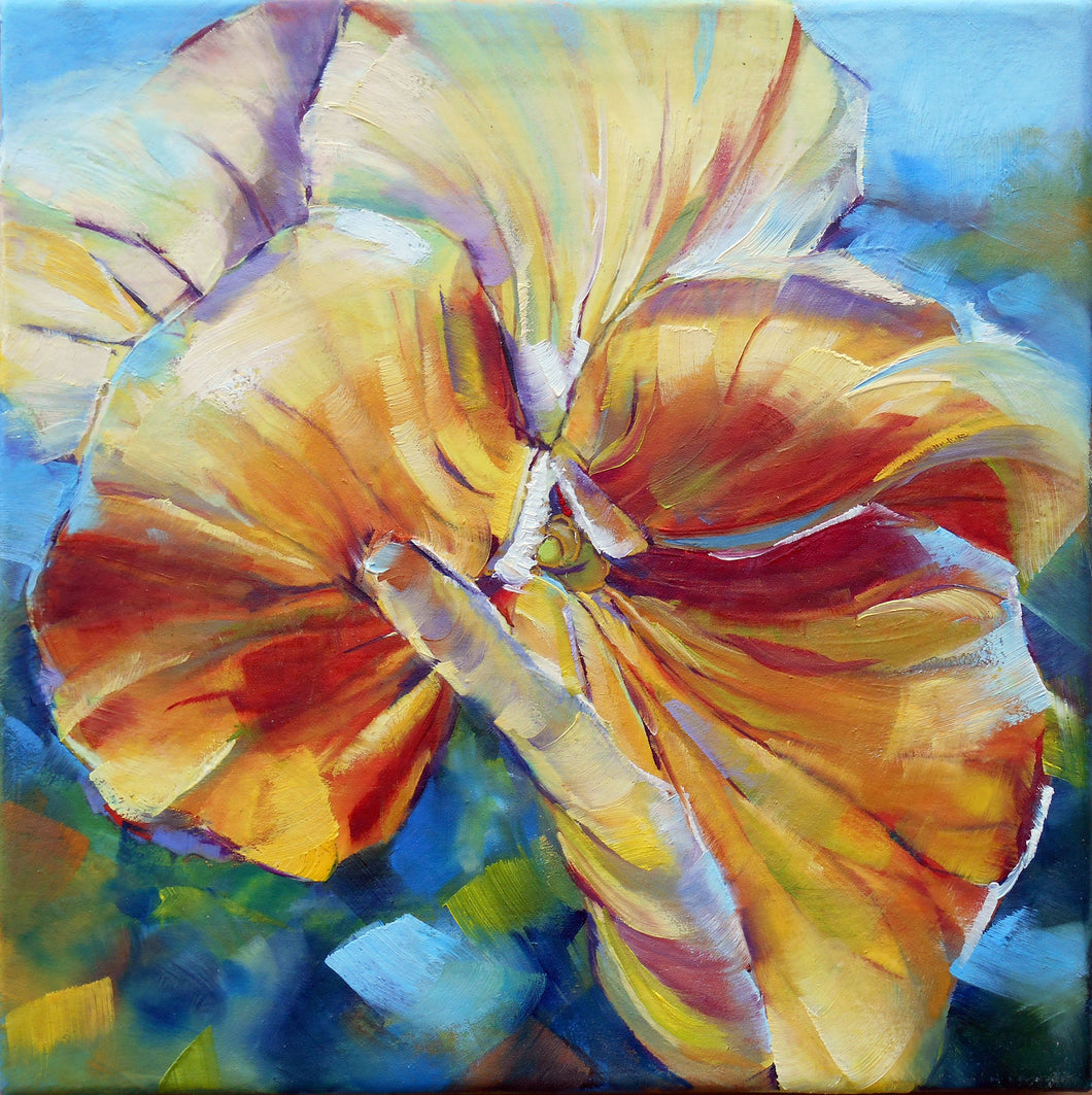 Sunny Petunia original oil painting by Pat Cross.