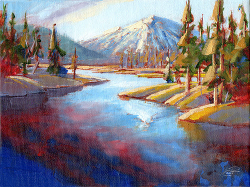 A Glacial Crown 6x8 oil painting on canvas panel by Pat Cross