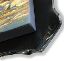 Load image into Gallery viewer, Along the River Bank original oil painting by Pat Cross with closeup detail of the fire-glazed stoneware frame.
