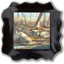 Load image into Gallery viewer, Along the River Bank original oil painting mounted in a fire-glazed stoneware frame by Pat Cross.