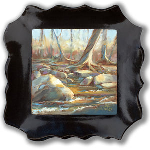 Along the River Bank original oil painting mounted in a fire-glazed stoneware frame by Pat Cross.