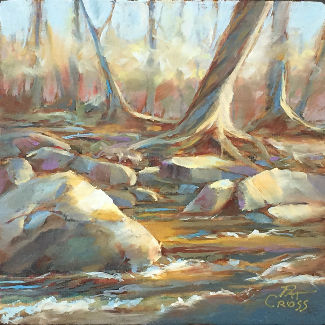Along the River Bank original oil painting by Pat Cross.