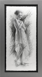 At the Spa framed original drawing by Pat Cross