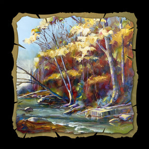Along the Riverbank 10x10 print