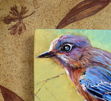 Load image into Gallery viewer, Backyard Bluebird painting by Pat Cross mounted in a handbuilt and kiln fired stoneware frame close up detail.