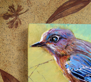 Backyard Bluebird painting by Pat Cross mounted in a handbuilt and kiln fired stoneware frame close up detail.