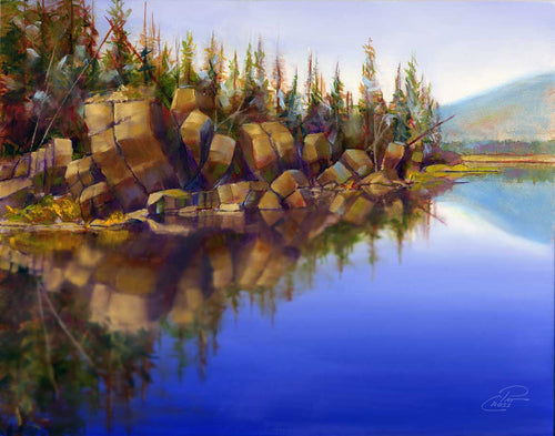 Basalt Banks of Sparks Lake original oil painting by Pat Cross.