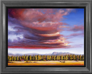Brooding Storm framed 30x40 original oil painting by Pat Cross
